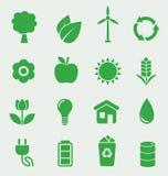 Geplaatste ecologiepictogrammen Royalty-vrije Stock Afbeelding