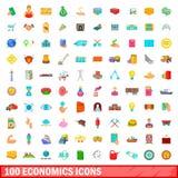 100 geplaatste economiepictogrammen, beeldverhaalstijl Royalty-vrije Stock Foto
