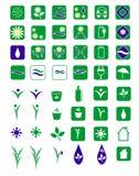 Geplaatste Ecopictogrammen Stock Afbeelding