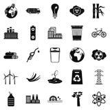 Geplaatste Ecopictogrammen, eenvoudige stijl Royalty-vrije Stock Afbeelding