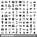 100 geplaatste ecopictogrammen, eenvoudige stijl Royalty-vrije Stock Afbeelding