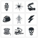 Geplaatste elektriciteitspictogrammen Royalty-vrije Stock Fotografie