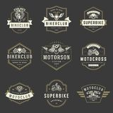 Geplaatste elementen van het de malplaatjes de vectorontwerp van motorfietsenemblemen Royalty-vrije Stock Foto's