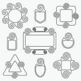 Geplaatste elementen van het de markeringenontwerp van de lijn de spiraalvormige vorm Vector Illustratie