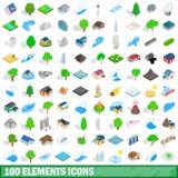 100 geplaatste elementenpictogrammen, isometrische 3d stijl Royalty-vrije Stock Afbeeldingen