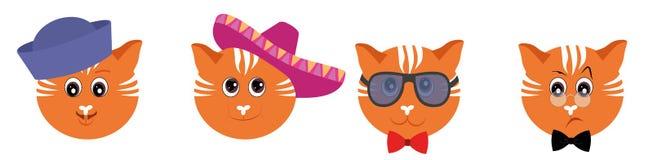Geplaatste Emoticons - katten Emojivector op witte achtergrond wordt geïsoleerd die vector illustratie