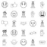 Geplaatste emotie de pictogrammen, schetsen stijl Royalty-vrije Stock Fotografie