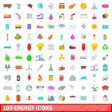 100 geplaatste energiepictogrammen, beeldverhaalstijl Stock Fotografie