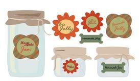 Geplaatste etiketten. Inzameling van etiketten met Kruiken Gelei en Jam Royalty-vrije Stock Fotografie
