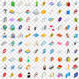 100 geplaatste examenpictogrammen, isometrische 3d stijl Stock Afbeelding