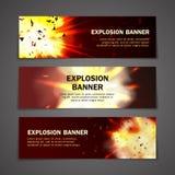 Geplaatste explosiesbanners Stock Foto