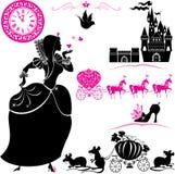 Geplaatste Fairytale - silhouetten van Cinderella, Pompoen Royalty-vrije Stock Afbeeldingen