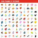 100 geplaatste familiepictogrammen, isometrische 3d stijl Stock Afbeeldingen