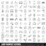 100 geplaatste familiepictogrammen, schetsen stijl Royalty-vrije Stock Afbeelding