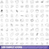 100 geplaatste familiepictogrammen, schetsen stijl Stock Foto