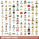 100 geplaatste familiepictogrammen, vlakke stijl Stock Afbeelding