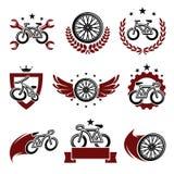 Geplaatste fietsetiketten en pictogrammen Vector royalty-vrije illustratie