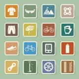 Geplaatste fietspictogrammen Stock Foto's