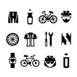Geplaatste fietspictogrammen Stock Foto