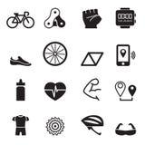 Geplaatste fietspictogrammen Stock Afbeeldingen