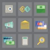 Geplaatste financiënpictogrammen Stock Foto