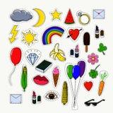 Geplaatste flardkentekens en stickers vector illustratie