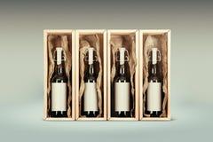 Geplaatste flessen Stock Foto's