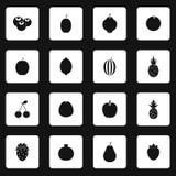 Geplaatste fruitpictogrammen, eenvoudige stijl Royalty-vrije Stock Foto