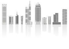 Geplaatste gebouwen stock illustratie
