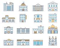 Geplaatste gebouwen Geplaatste gebouwen Plattelandshuisjes, opslag, museum, het ziekenhuis, bibliotheek, bank, bioskoop, godsdien royalty-vrije illustratie