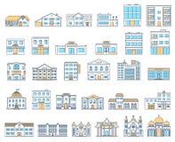Geplaatste gebouwen Plattelandshuisjes, opslag, museum, het ziekenhuis, bibliotheek, bank, bioskoop, godsdienst, politie, brand,  stock illustratie