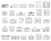 Geplaatste gebouwen Plattelandshuisjes, opslag, museum, het ziekenhuis, bibliotheek, bank, bioskoop, godsdienst, politie, brand,  vector illustratie
