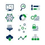 Geplaatste gegevens analitische pictogrammen Royalty-vrije Stock Afbeeldingen