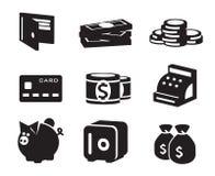 Geplaatste geldpictogrammen Royalty-vrije Stock Afbeeldingen