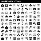 100 geplaatste geldpictogrammen, eenvoudige stijl Stock Foto's