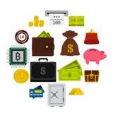 Geplaatste geldpictogrammen, vlakke stijl Stock Afbeeldingen