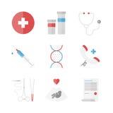 Geplaatste geneeskunde en klinische vlakke pictogrammen Stock Fotografie