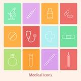 Geplaatste geneeskundepictogrammen Royalty-vrije Stock Afbeeldingen
