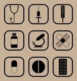 Geplaatste geneeskundepictogrammen Stock Afbeelding