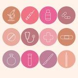 Geplaatste geneeskundepictogrammen De vectorillustratie van de lijnkunst Stock Afbeelding