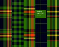 Geplaatste geruit Schots wollen stof naadloze patronen Stock Afbeelding