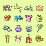 Geplaatste geschiktheidsschets gekleurde pictogrammen Royalty-vrije Stock Afbeelding