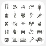 Geplaatste gezondheid en Medische pictogrammen Stock Foto's
