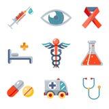 Geplaatste gezondheid en Medische pictogrammen Royalty-vrije Stock Afbeeldingen