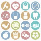 Geplaatste gezondheidspictogrammen Stock Foto