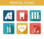 Geplaatste gezondheidszorg Medische Pictogrammen Royalty-vrije Stock Foto