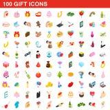 100 geplaatste giftpictogrammen, isometrische 3d stijl Royalty-vrije Stock Foto