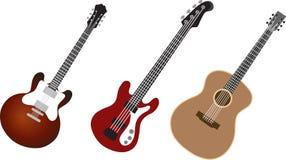 Geplaatste gitaren Stock Afbeelding