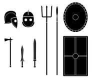Geplaatste gladiatorwapens en pantsers Oud strijdersmateriaal stock illustratie