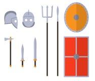 Geplaatste gladiatorwapens en pantsers Oud strijdersmateriaal royalty-vrije illustratie
